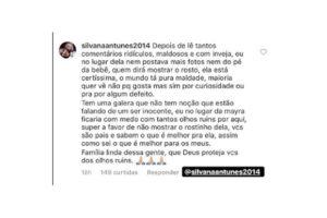 Comentário que Mayara compartilhou no stories de uma seguidora. (Foto: reprodução instagram)