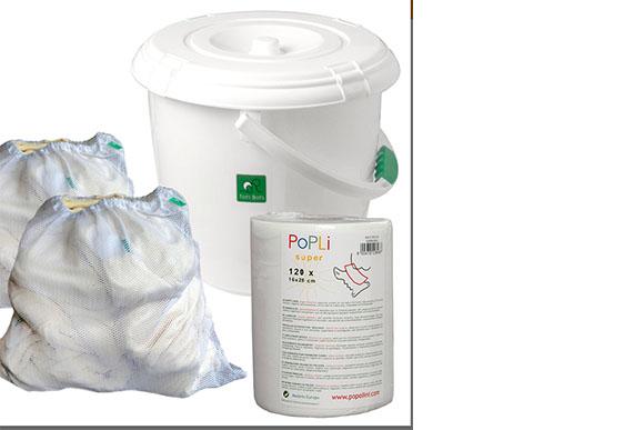 Esses acessórios, balde para lavar a fralda, saco para colocar o produto e folhas biodegradáveis, também podem ser adquiridos pelos pais. Kit completo! (Foto: reprodução da internet)