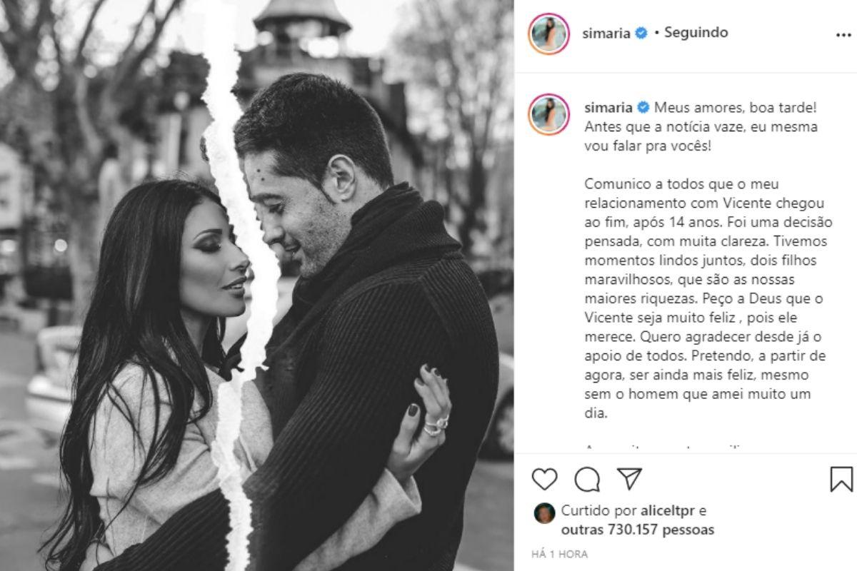 Simaria se separa do marido após 14 anos juntos