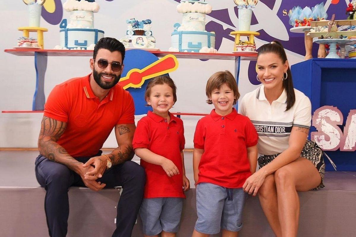 Andressa Suita e Gusttavo Lima comemorando o aniversário de 4 anos do filho Gabrie