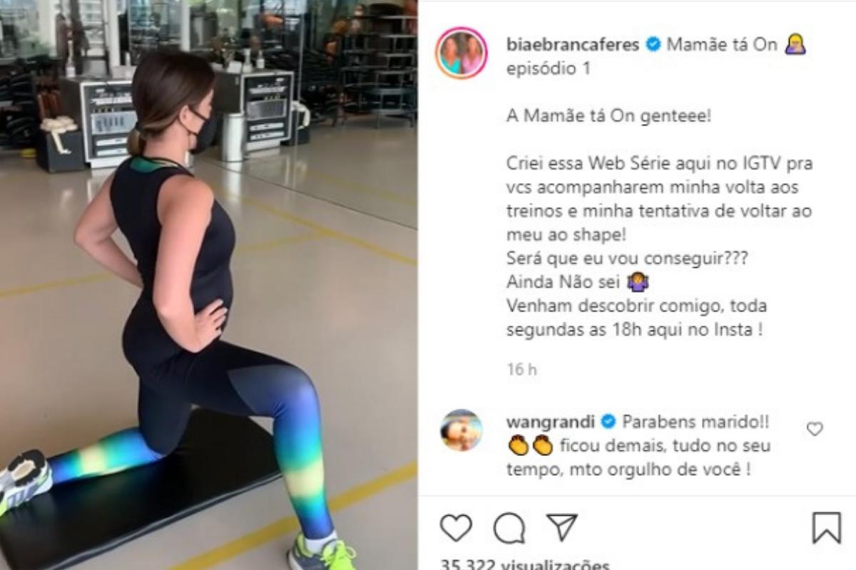 """Bia Feres apareceu fazendo exercícios com a web série """"Mamãe ta on"""""""