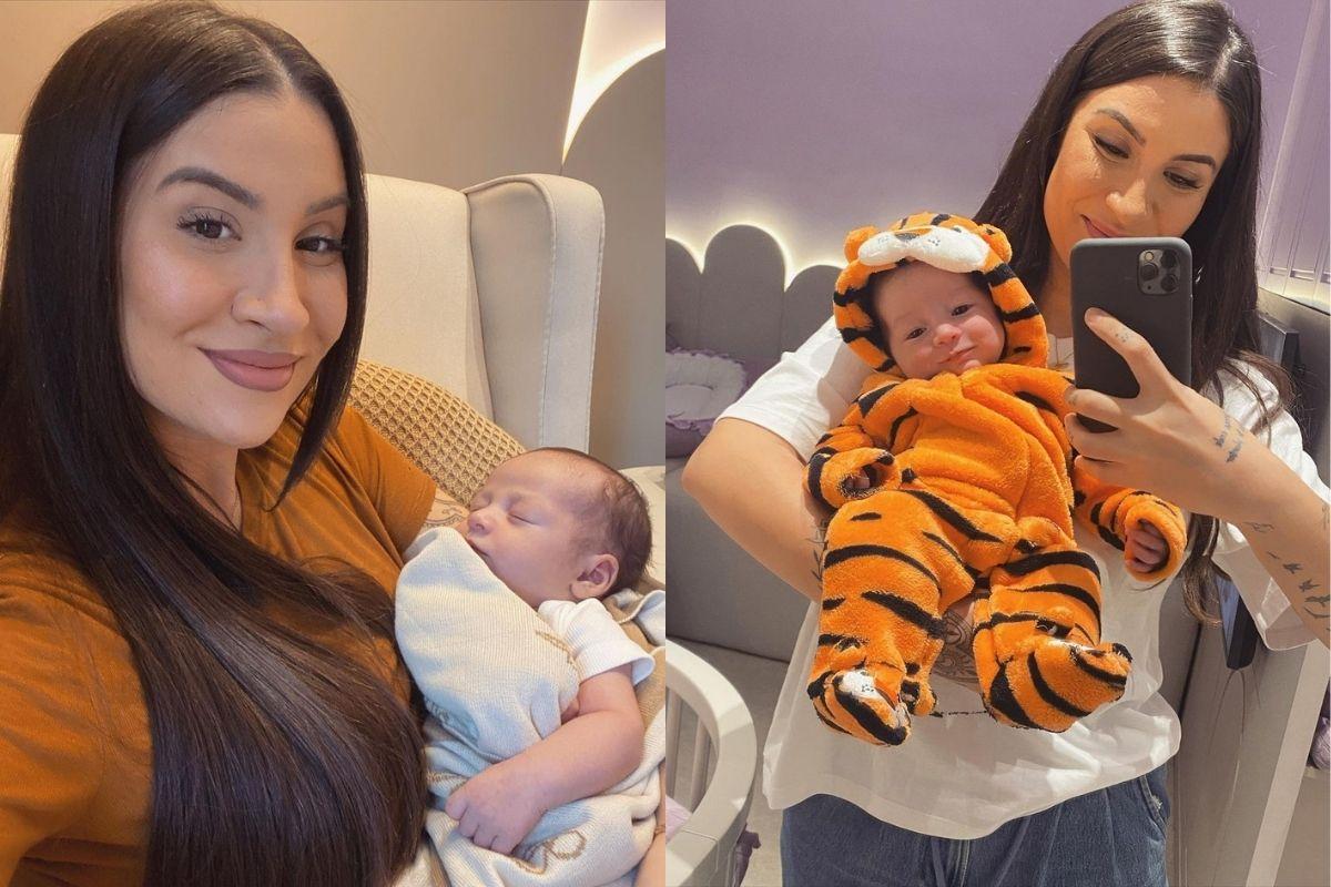 Bianca mostrou o filho vestido com uma roupa de tigre e internautas babaram