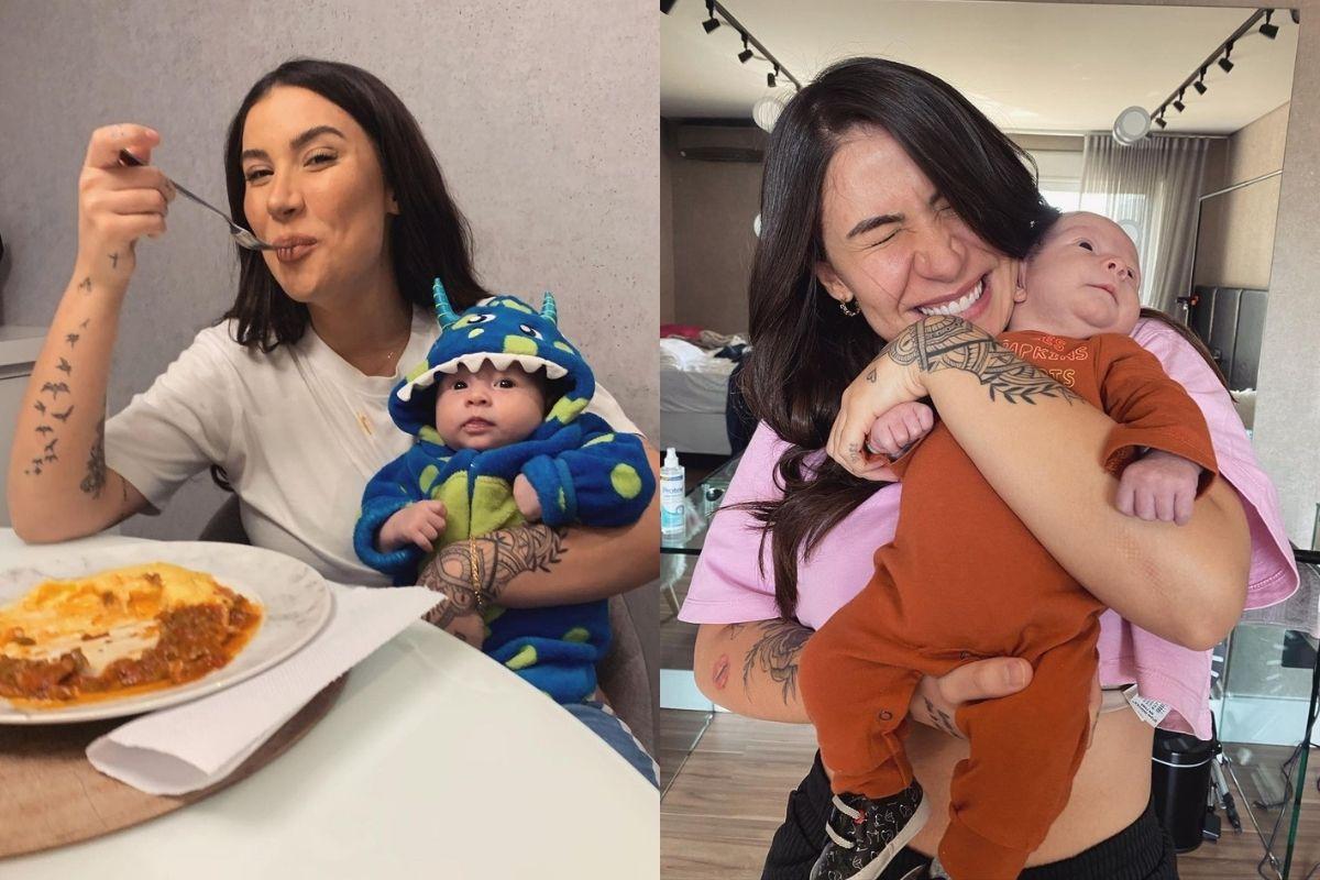 Bianca Andrade mostrando a realidade de muitas mães comendo com o filho no colo