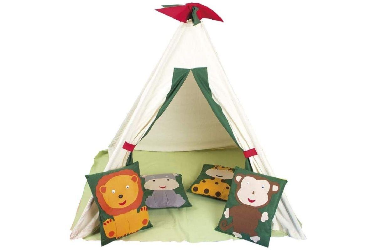 Cabana infantil divertida com almofadas