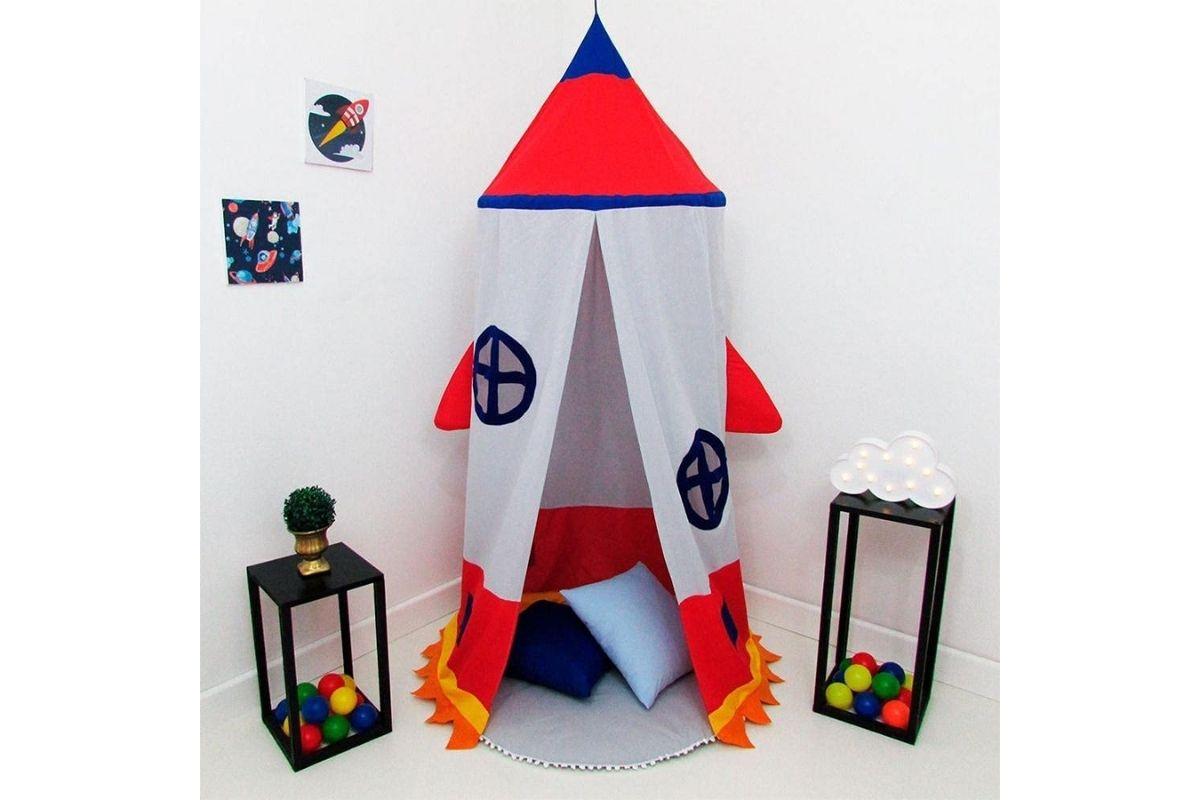 Tenda Cabaninha de Teto Infantil - Foguete com Janelinha