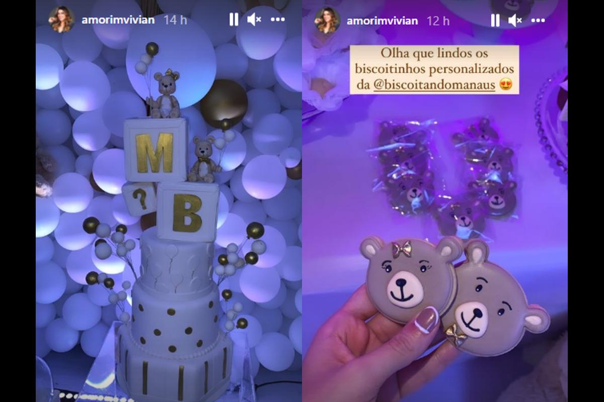 O chá-revelação do bebê de Vivian Amorim teve tema de ursinhos