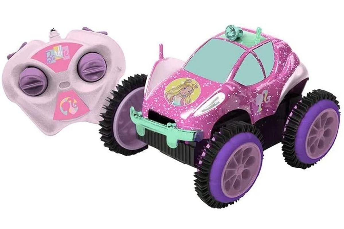 Presente para Dia das Crianças: Carrinho de controle remoto - Glamour Flip da Barbie - Candide