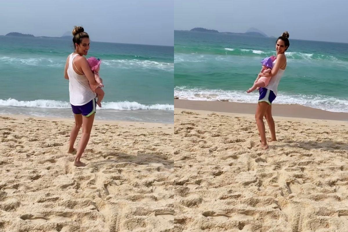 Marcella Fogaça e filhas na praia