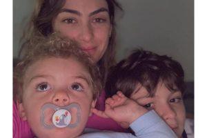 Mariana Uhlmann e os filhos