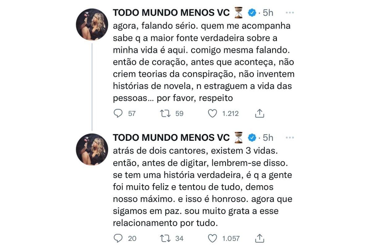 Marília Mendonça se pronuncia sobre o término nas redes sociais