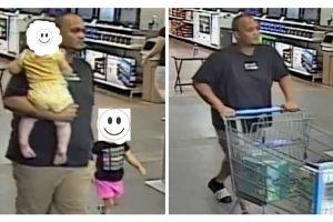 As câmeras de segurança registraram o pai com os filhos no mercado