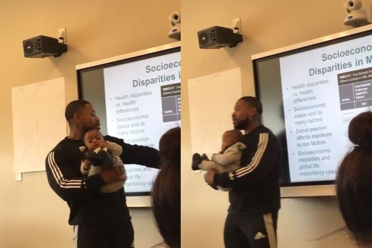 No vídeo o professor explica a matéria normalmente segurando o bebê no colo