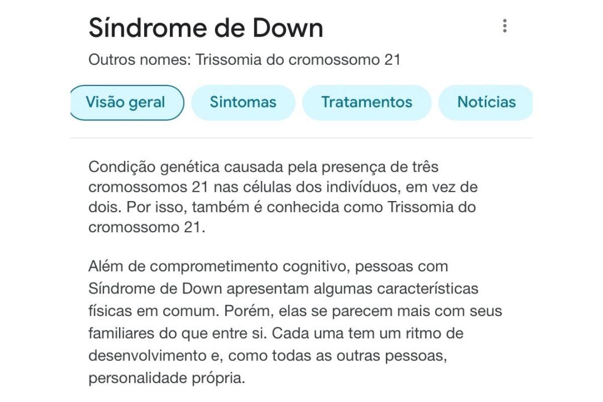 Resultados de busca para Síndrome de Down no Google