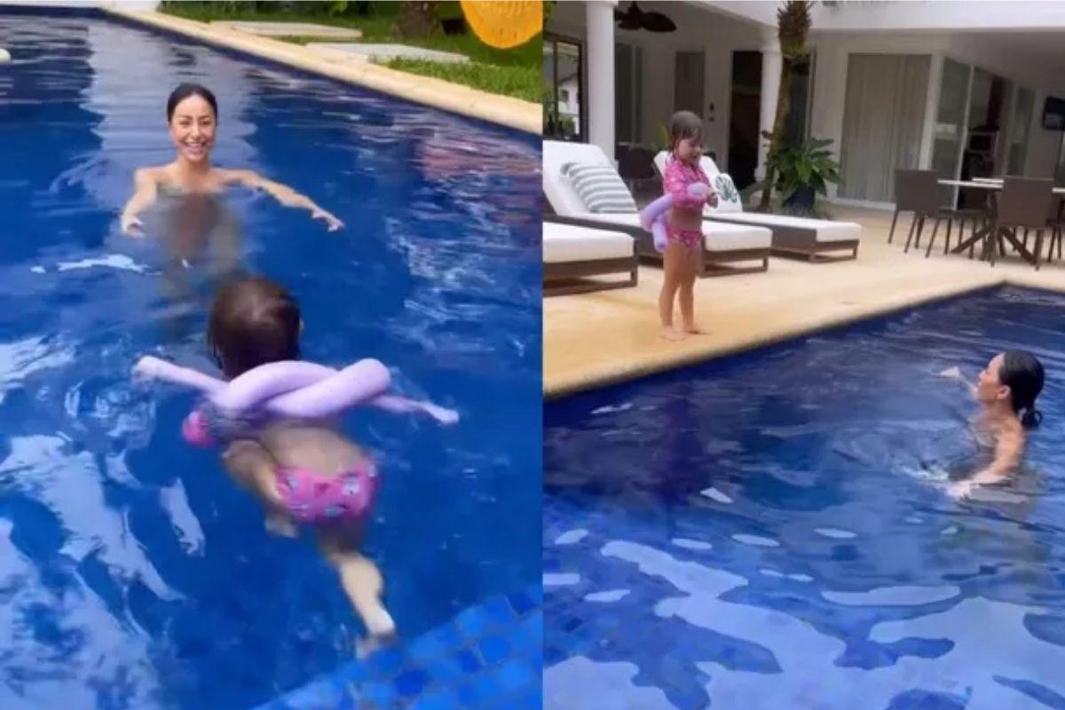 Sabrina Sato curte piscina com Zoe