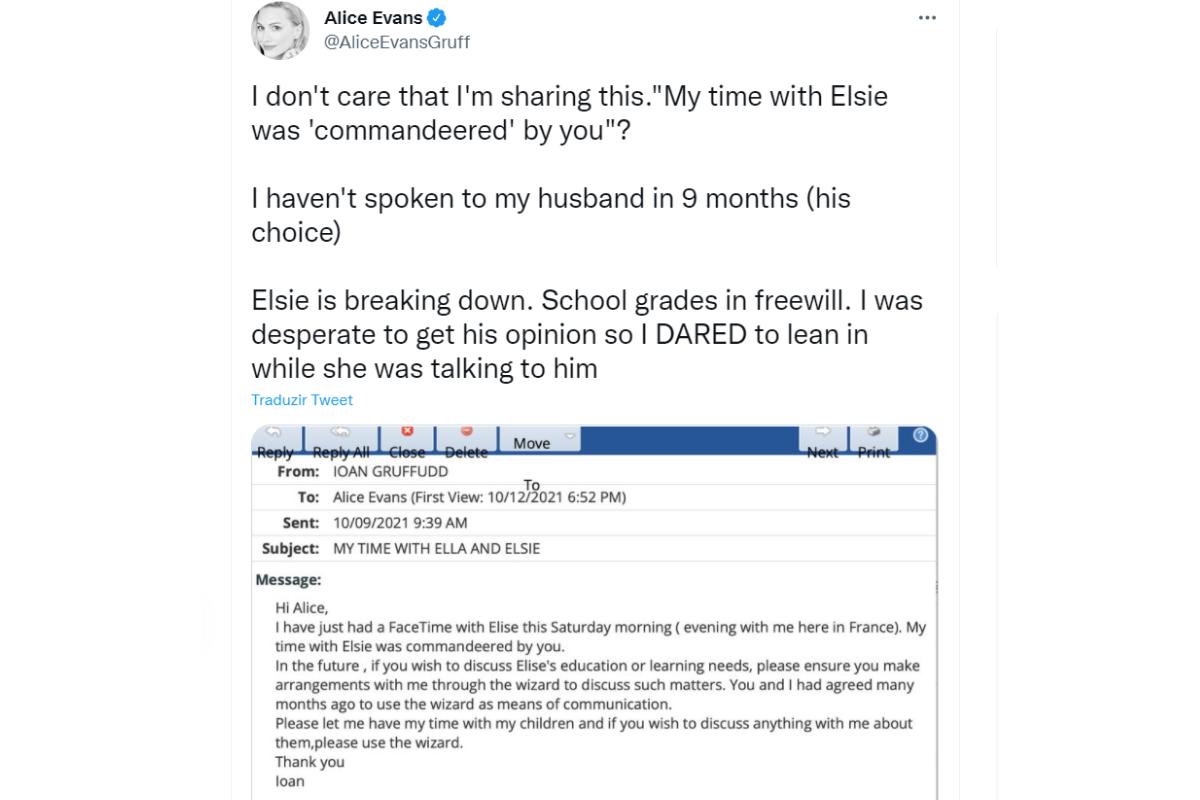 Tweet da atriz acusando o ex-marido de ter abandonado as filhas