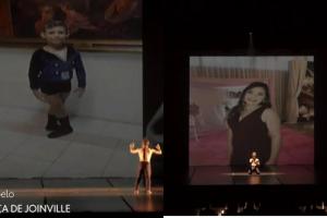Fotos homenageando a família de Daniel durante coreografia para o Festival de Dança de Joinville