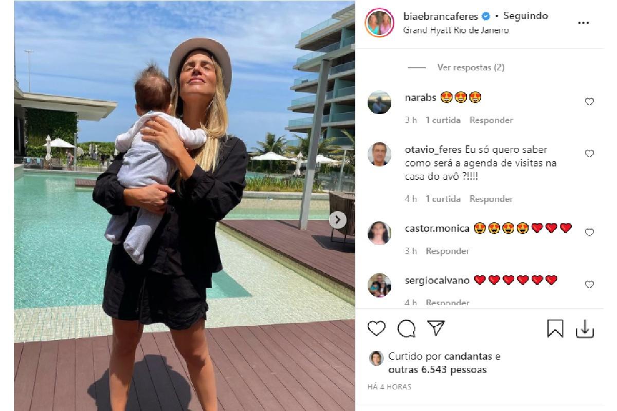 Bia Feres mostrou Isaac durante primeira viagem ao Rio de Janeiro