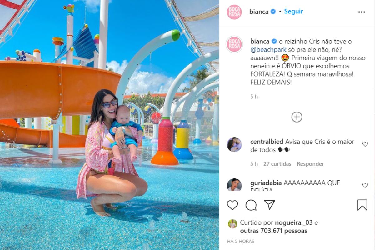 Bianca Andrade fecha parque aquático para filho de 2 meses