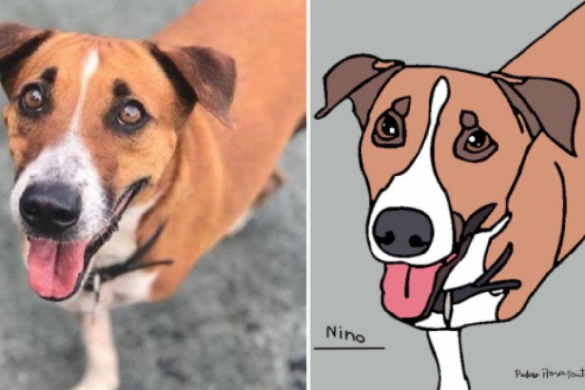 Desenho de Nilo, cachorro de Tatá Weneck