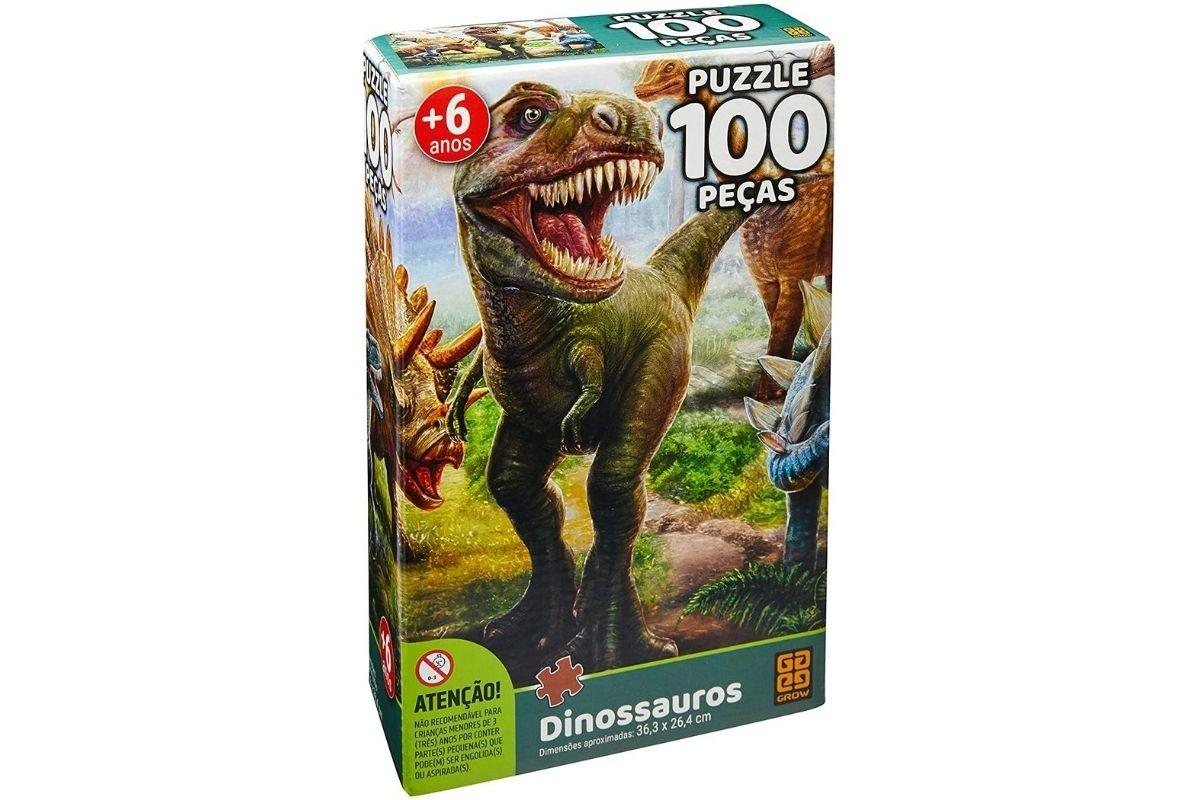 Presente Dia das Crianças: Quebra-cabeça Cartonado Dinossauro 100 peças - Grow