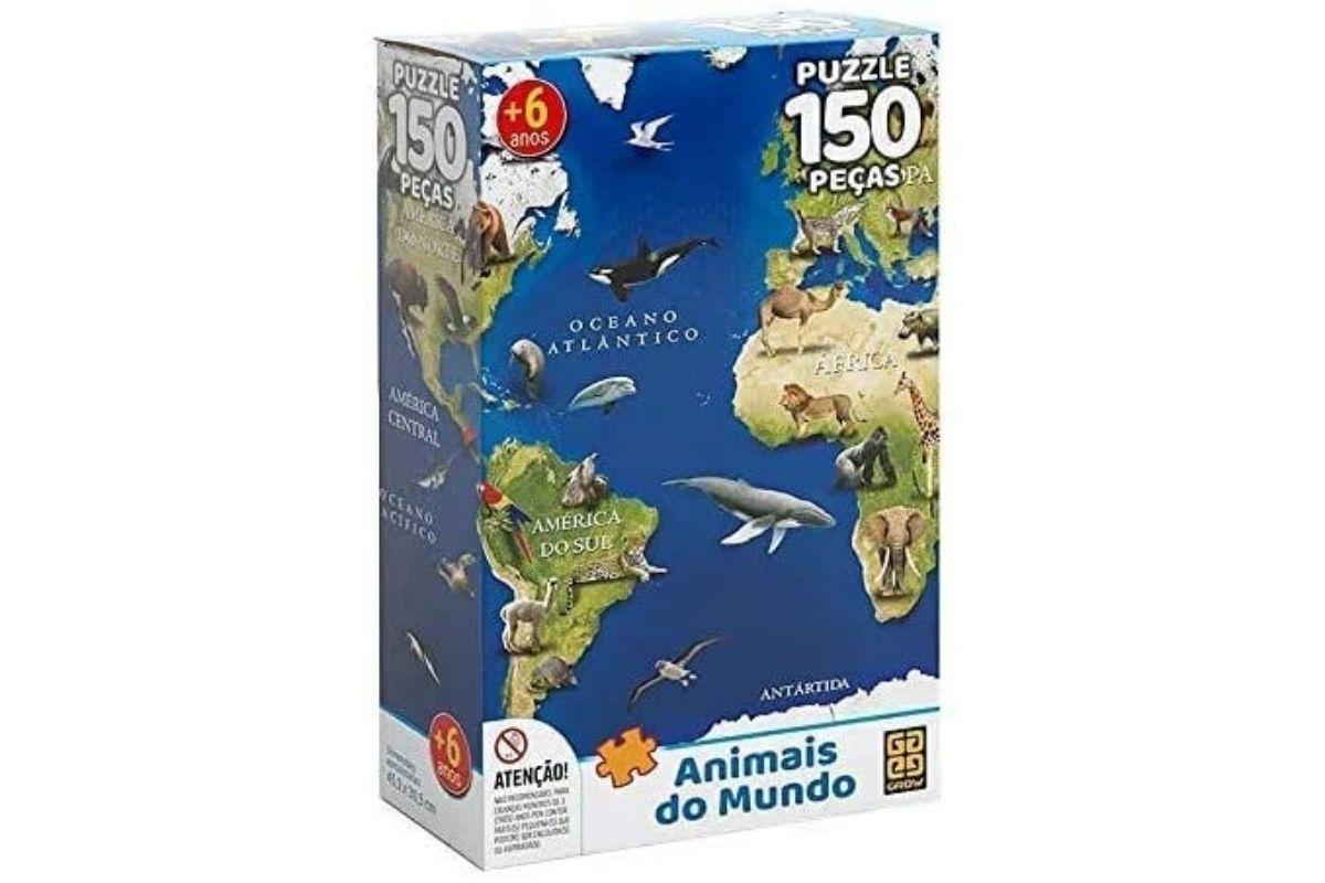Presente Dia das Crianças: Quebra-Cabeça Animais do Mundo 150 peças - Grow