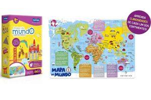 Presente Dia das Crianças: Mapa do Mundo Quebra-Cabeça - Toyster Brinquedos
