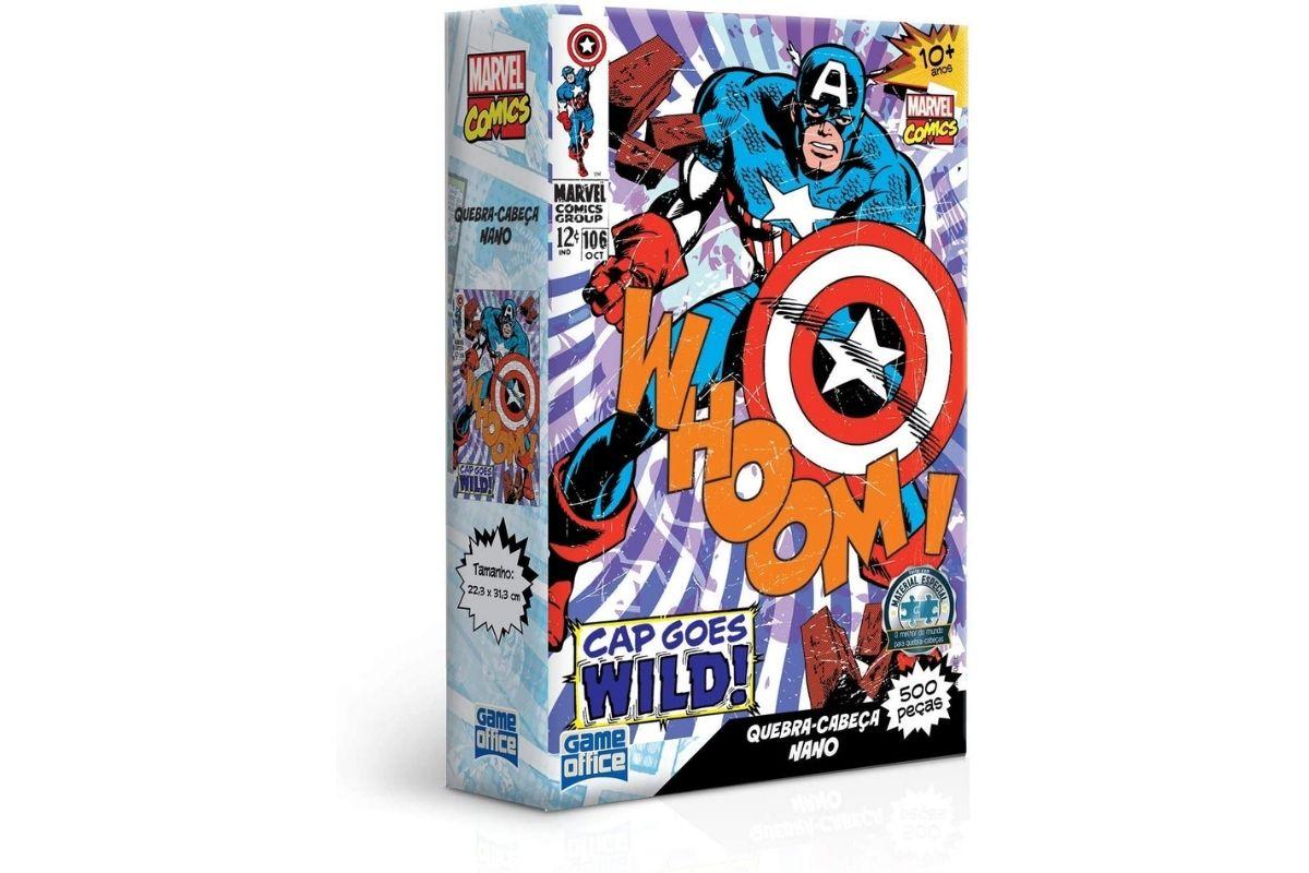 Presente Dia das Crianças: Marvel Comics - Capitão América - Quebra-cabeça - 500 peças nano - Game Office