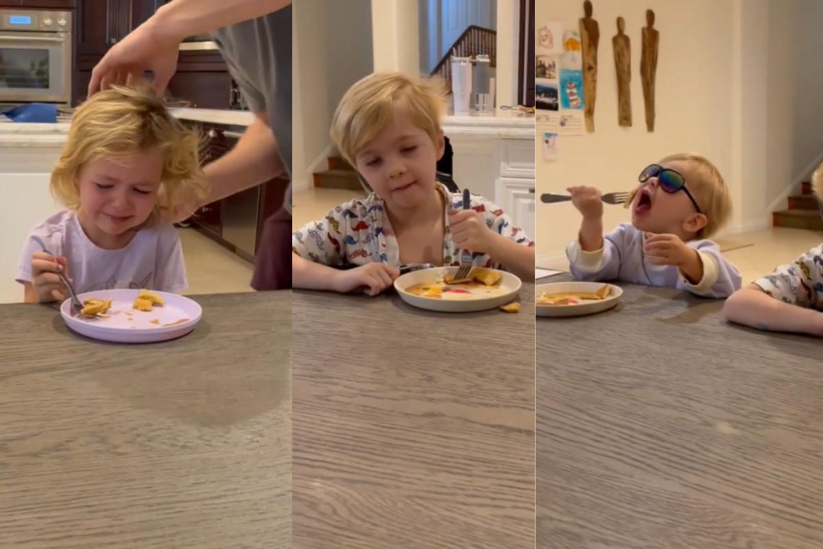 As gêmeas Coco Rae e Gia James e o filho mais novo, Valentine, aparecem em vídeo engraçado registrado pela mãe