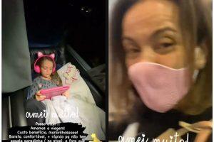 Flávia Monteiro levou Sofia para andar de ônibus