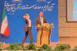 O homem invadiu o palco e bateu no governador do Irã