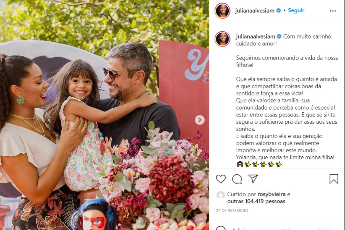 A atriz fez uma publicação no Instagram com uma mensagem de carinho no aniversário de 4 anos da filha, Yolanda