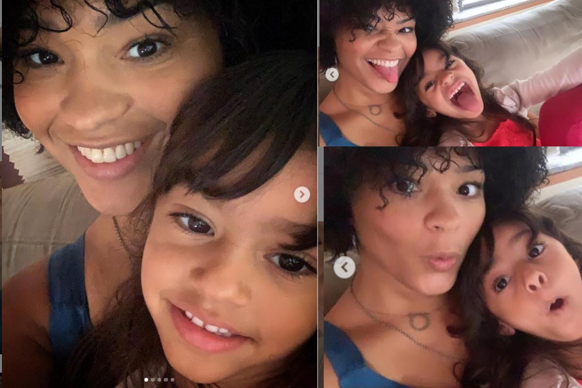Sequência de fotos publicadas por Juliana Alves ao lado da filha