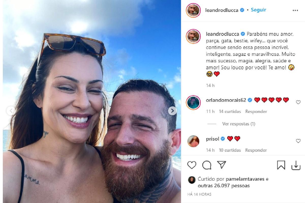 Leandro D'lucca, marido de Cleo Pires, também parabenizou a atriz pelos 39 anos