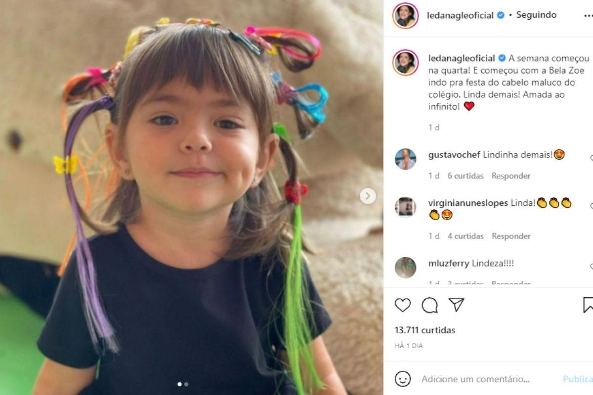 Leda Nagle compartilha foto de Zoe com penteado diferentão e explica a escolha