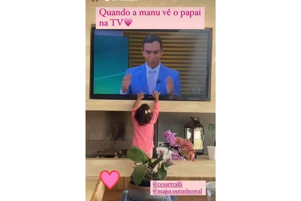 Manu teve a melhor reação ao ver o pai na televisão