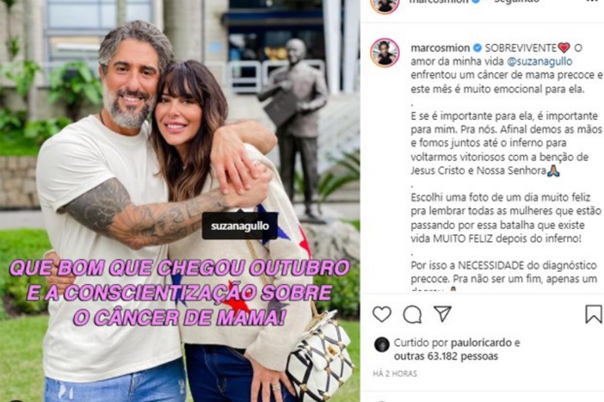 Marcos fez um post no Instagram para homenagear a luta da esposa