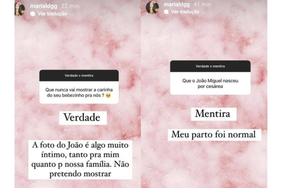 Maria Lina abriu uma caixa de perguntas para interagir no Instagram (Foto: Reprodução / Instagram) Maria Lina falou sobre as fotos do filho