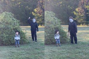 O menino teve a melhor reação após Michael Myres, do filme Halloween, durante a sessão de fotos