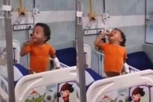 Menino de 3 anos viraliza ao cantar música de Péricles no hospital