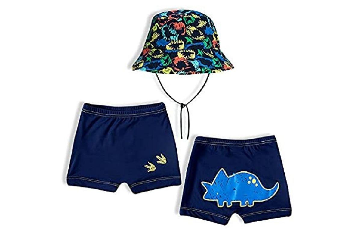 Roupas para nadar com desconto: Conjunto com sunga e chapéu TipTop