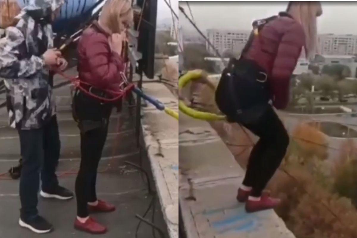 Mãe se acidenta ao praticar salto radical de comunicação de profissionais