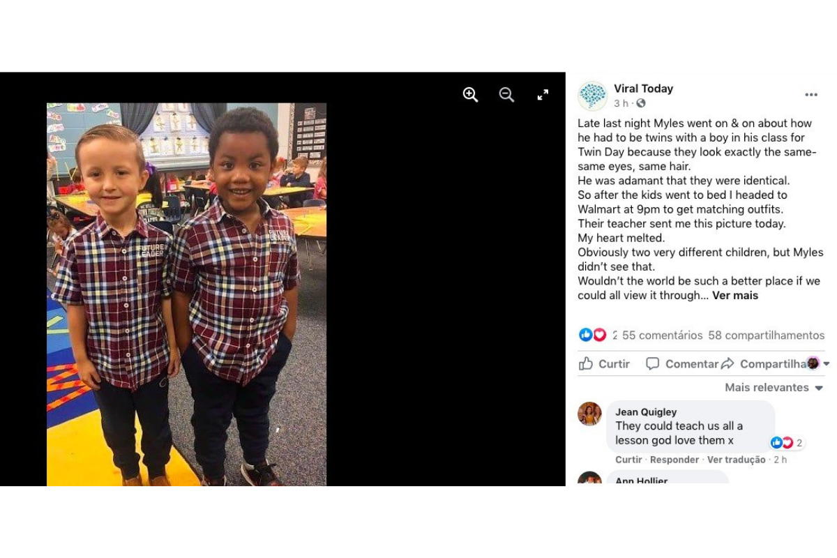 """A mãe de Myles publicou nas redes a foto do """"Dia dos gêmeos"""" na escola do filho"""