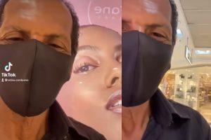 Um vídeo mostra a reação emocionada de um pai ao ver a filha modelo em cartaz de shopping