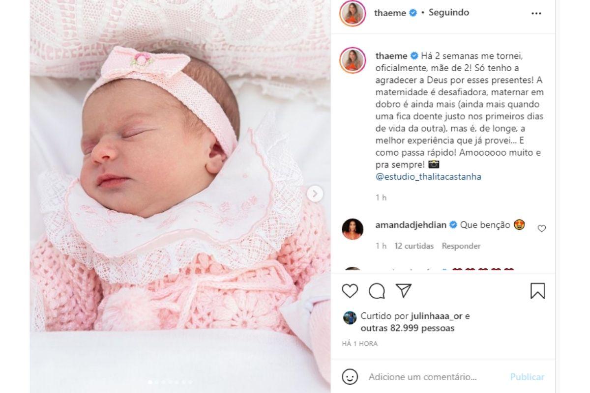 Thaeme se declara para filha caçula nas redes sociais