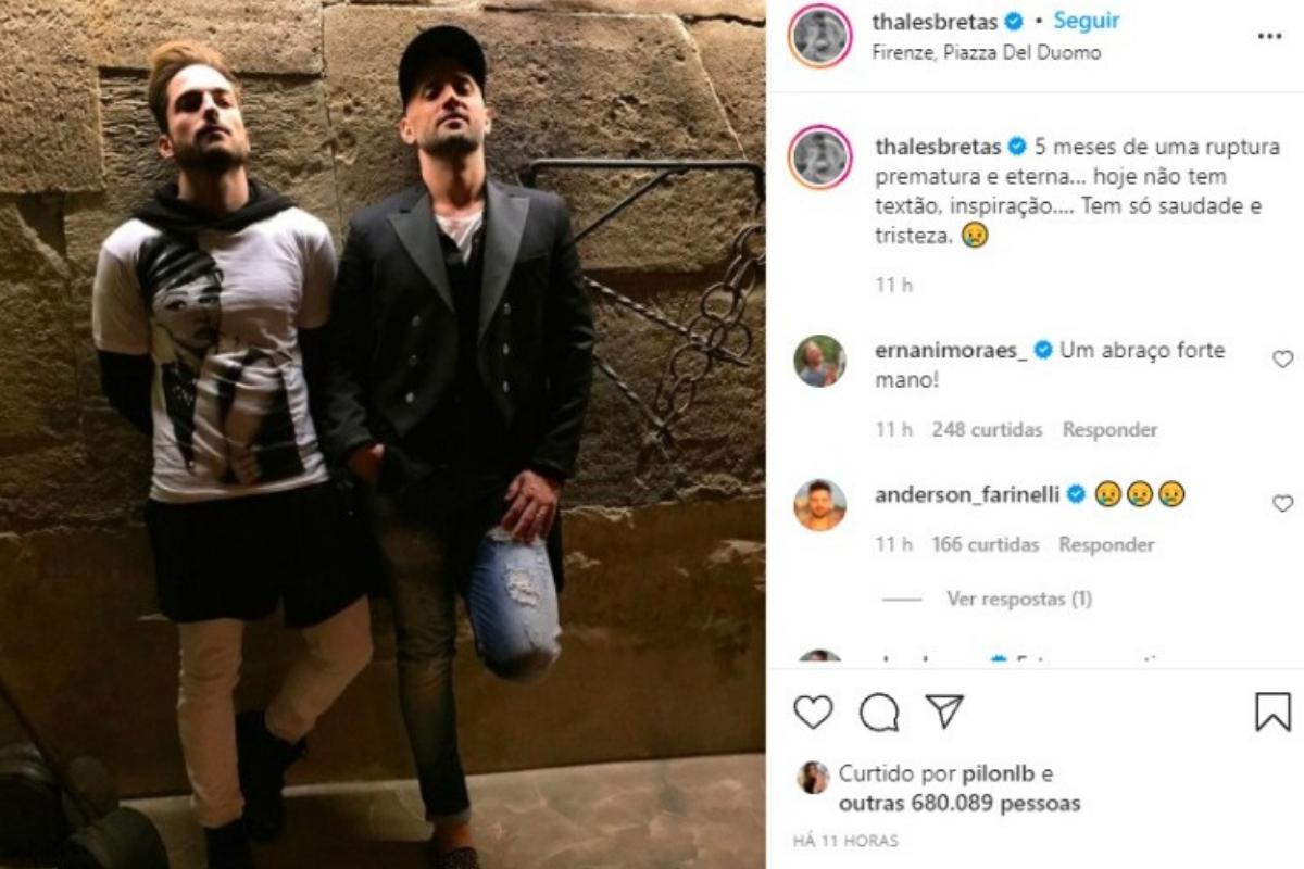 Thales Bretas fez um post no Instagram para falar de Paulo Gustavo