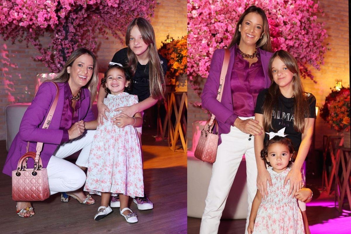 Ticiane ao lado as filhas Manuella e Rafaella