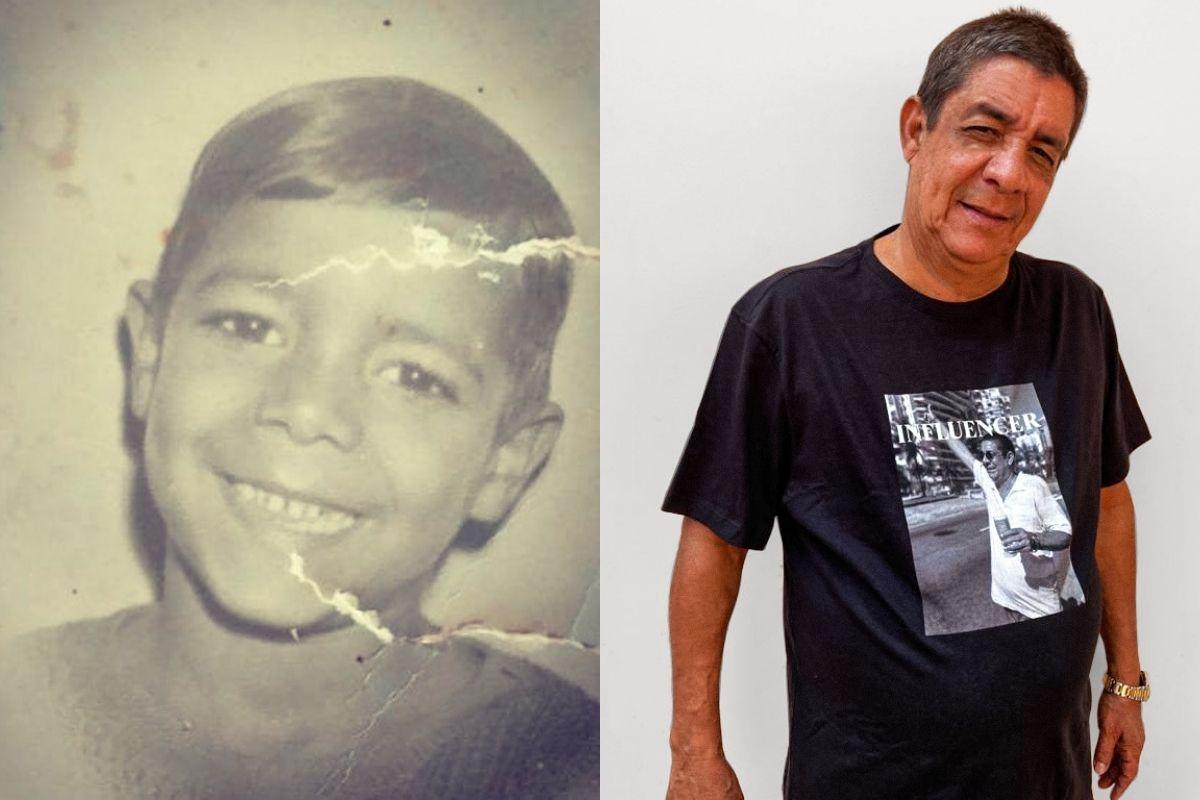 Zeca Pagodinho vestindo a camiseta de uma parceria que fizeram com ele