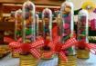 Confetes bem guardadinhos, fácil de levar pra lá e pra cá na festinha. Inspiração: Cogumellow / Madame Tutu